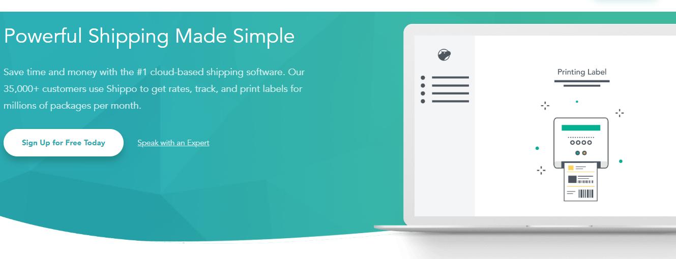 screenshot of Shippo home page.
