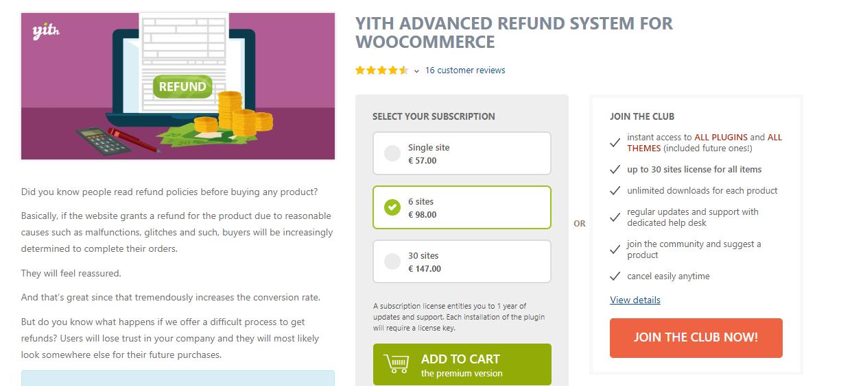 screenshot of YITH Advanced Refund System