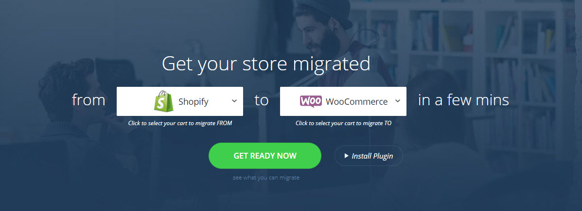 screenshot of Cart2Cart, a tool that will help to migrate from Shopify to WooCommerce