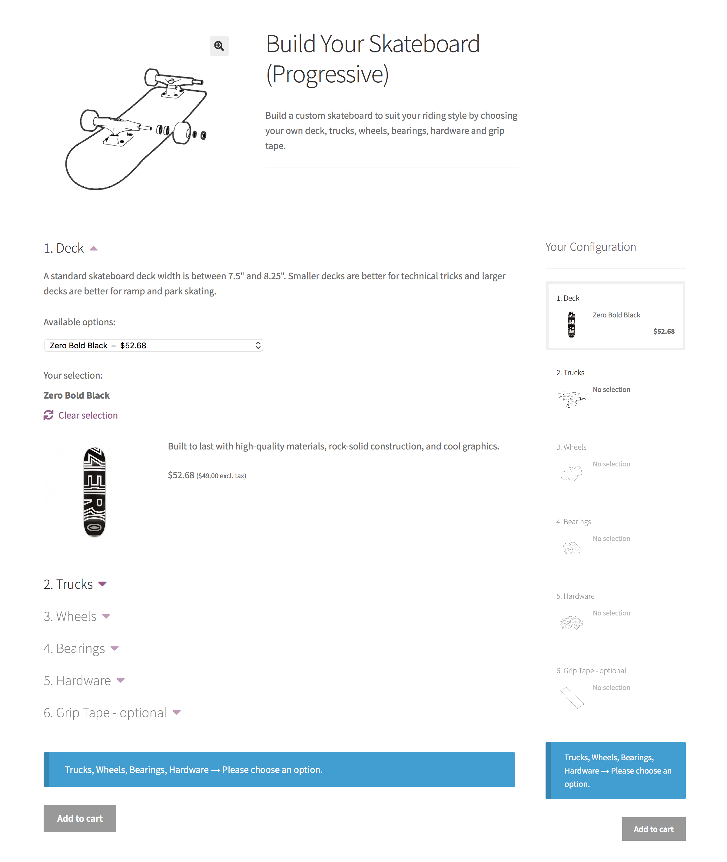 Screenshot of Composite products, an advanced WooCommerce Product Bundles option