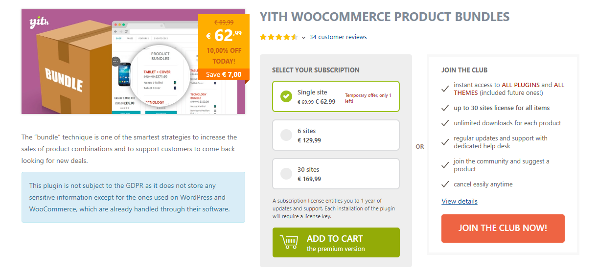 screenshot of YITH WooCommerce Product Bundles plugin