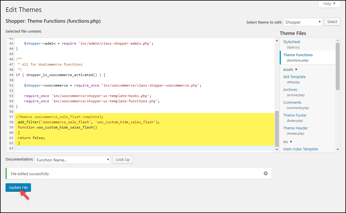 Updating Code snippets WordPress WooCommerce | Code snippet updated